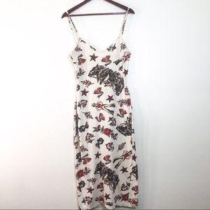 Vintage Betsey Johnson Tattoo Maxi Dress